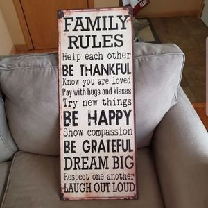 Family Rules Sign Wall Decor Metal Farmhouse